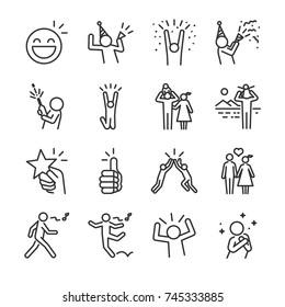Conjunto de ícones de linha feliz. Incluído os ícones como diversão, desfrutar, festa, bom humor, celebrar, sucesso e muito mais.