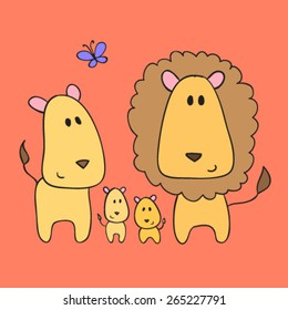 Happy lion family