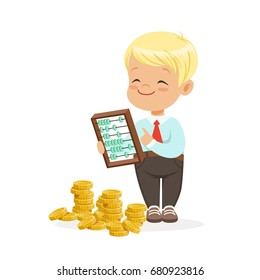 Happy lirrle boy businessman counting his money, kids financial business vector Illustration