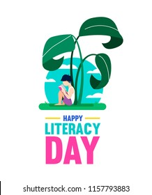 Happy Literacy Day design, boy reading book under giant jungle plant. World education for children, concept illustration. EPS10 vector.