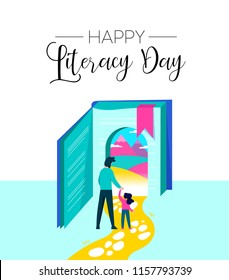 Happy Literacy Day illustration of girl entering book door with dad. Children imagination concept for reading education. EPS10 vector.