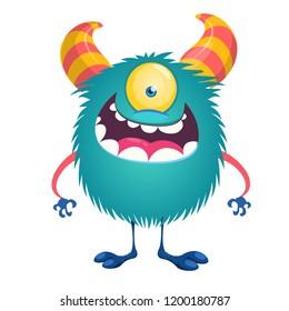 Happy little blue one-eyed monster alien character