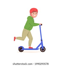 Happy little boy in a helmet riding electric walk scooter. Modern child character driving eco urban transport. Active sports and walks. Colored flat vector illustration isolated on white background.