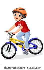 Happy little boy in helmet riding bicycle
