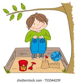 Happy little boy playing on the sandpit, building sandcastle - original hand drawn illustration