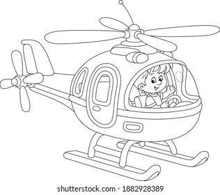 Happy little boy playing and piloting a big toy helicopter on a playground, black and white outline vector cartoon illustration for a coloring book page
