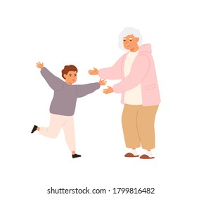 Happy little boy running to hug glad to visit smiling grandmother vector flat illustration. Joyful relatives enjoying meeting having positive emotion isolated. Cute family spending time together