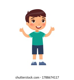 Happy little boy shows thumbs up as a sign of agreement. Cartoon character isolated on white background. Flat vector color illustration.