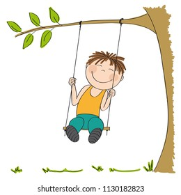 Happy little boy sitting on swing, swinging under the tree in the garden or in the park - original hand drawn illustration.
