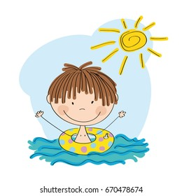 Happy little boy swimming in the water with inflatable circle - original hand drawn illustration