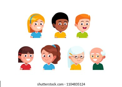 Happy little boys & gils kids and senior couple closeup head portraits collection. Smiling diverse kids & elder people face cartoon characters set. Flat style vector illustration isolated on white