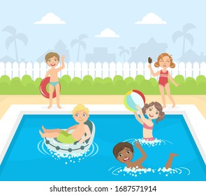 Happy Little Boys and Girls Swimming and Having Fun in a Pool Vector illustration