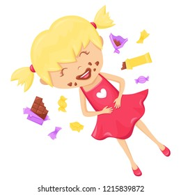Happy little child lying on the floor in a pile of chocolates and candies. A girl who has eaten too much chocolate. Anti-diet vector illustration