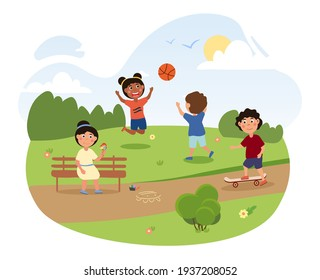 Happy little children are playing in the park together. Cute kids are having fun with ball, ice cream and skateboard in the park on a hot summer day. Flat cartoon vector illustration