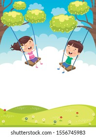 Happy Little Children Swinging At Tree