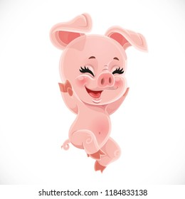 Happy little cute cartoon baby pig isolated on a white background