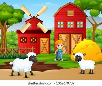 Happy little farmer and sheep on the farm