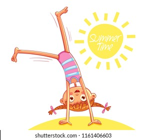 Happy little girl doing cartwheel on sea beach. Summer time. Red-haired girl with two funny pigtails have fun jumping. Funny cartoon character. Vector illustration. Isolated on white background