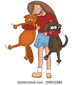 Happy little girl hugging her cat and strong dog.Children and pets.