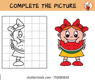 Happy little girl with a piece of watermelon. Copy the picture. Coloring book. Educational game for children. Cartoon vector illustration