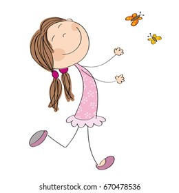 Happy little girl running and catching butterflies - original hand drawn illustration