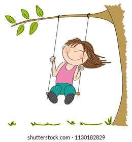Happy little girl sitting on swing, swinging under the tree in the garden or in the park - original hand drawn illustration.