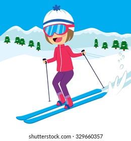 Happy little girl skiing on snow mountain