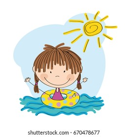 Happy little girl swimming in the water with inflatable circle - original hand drawn illustration