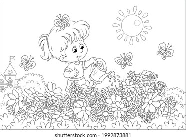 Happy little girl watering beautiful garden flowers on a pretty small flowerbed on a sunny summer day, black and white vector cartoon illustration for a coloring book page