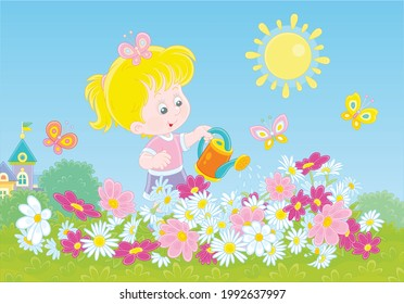 Happy little girl watering colorful garden flowers on a pretty small flowerbed on a sunny summer day, vector cartoon illustration