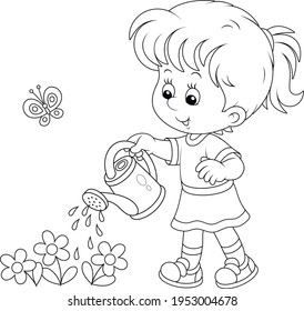 Happy little girl watering garden flowers on a small flowerbed on a warm summer day, black and white vector cartoon illustration for a coloring book page