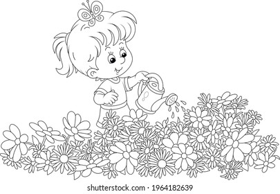 Happy little girl watering garden flowers on a small flowerbed on a summer day, black and white vector cartoon illustration for a coloring book page
