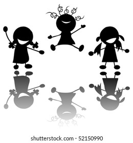 happy little girls silhouettes over white background