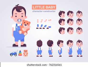 Happy little kid character with various views, face emotions, poses . Baby with toys: teddy bear, car, pyramid.  Front, side, back view animated character.