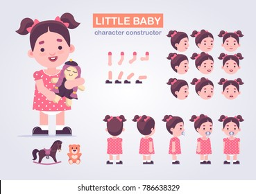 Happy little kid girl character with various views, face emotions, poses . Baby with toys: doll, teddy bear, horse.  Front, side, back view animated character.Vector clip art