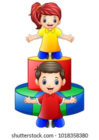 Happy little kids playing with colored wooden toys isolated on white background
