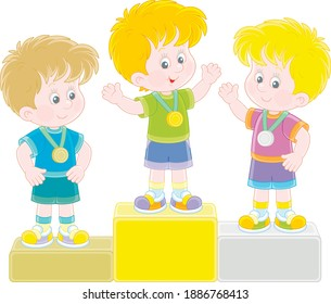 Happy little kids winners with gold, silver and bronze medals standing on a podium of school competitions at an award ceremony, vector cartoon illustration isolated on a white background