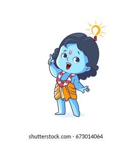 Happy little Krishna with an idea. Cute cartoon character. Vector cartoon illustration on a white background.