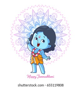 Happy little Krishna with thumb up. Greeting card for Krishna birthday - Janmashtami. Vector illustration isolated on a white background.