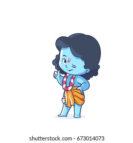 Happy little Krishna with thumb up. Cute cartoon character. Vector cartoon illustration on a white background.