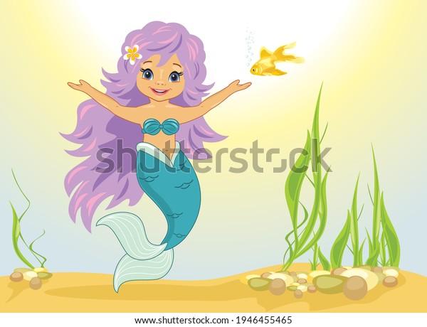 happy-little-mermaid-goldfish-vector-600