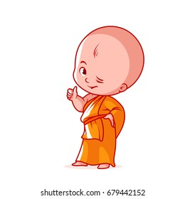Happy little monk with thumb up. Cute cartoon character. Vector cartoon illustration on a white background.
