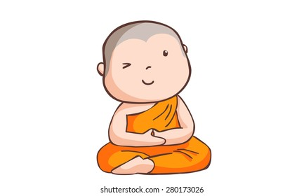 happy little neophyte take meditate vector illustration