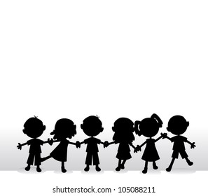happy little silhouettes children holding hands