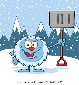 Happy Little Yeti Cartoon Mascot Character Holding Up A Winter Shovel. Vector Illustration Over Snow Mountains Background