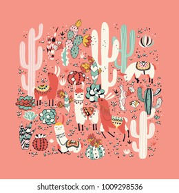 Happy llama seamless pattern with lovely flowers and cacti. Vector illustration. Good for posters, stickers, cards, notebooks and other childish accessories.