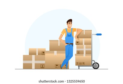 happy loader leaned on the cart with boxes. vector flat illustration. isolated character design.