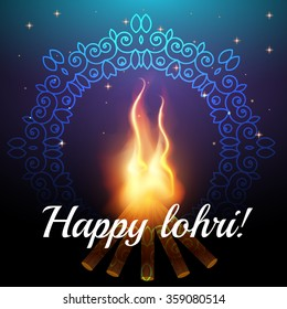 Happy lohri images stock photos vectors shutterstock happy lohri celebration background with bonfire and stars night sky with ornament creative poster m4hsunfo