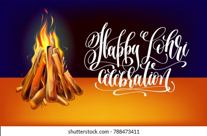 happy lohri hand lettering celebration design with realistic burning bonfire with wood to indian winter holiday, vector illustration