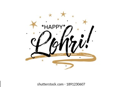 Happy Lohri, Punjabi festival, harvest, bonfires in South Asia. Beautiful greeting card scratched calligraphy black text word gold stars. Lettering white background isolated vector